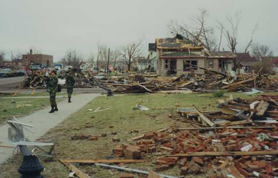 National Guard soldiers patrol the streets of St. Peter following the 1998 tornado.