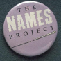 Color image of a NAMES Project Button worn by Brian Coyle when he read name from the AIDS Quilt during the Names Project Tour at the Metrodome, 1988.