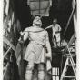 Sculptor John K. Daniels working on his statue of Leif Ericson
