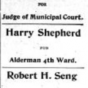 Advertisement showing Harry Shepherd as a candidate for Fourth Ward alderman, 1902. From The Appeal, January 18, 1902.