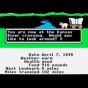Screenshot from the Apple II version of the Oregon Trail computer game, ca. 1980s. Photographed by Wikimedia Commons  user Bobamnertiopsis.