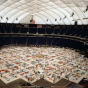 Color image of the NAMES Project AIDS Memorial Quilt at the Metrodome, 1988.