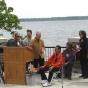 Committee members and Ojibwe leaders at statue dedication