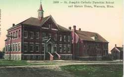 Color postcard depicting St. Joseph's Catholic Parochial School and Sister's Home. Photograph Collection, Carver County Historical Society, Waconia