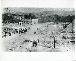 Black and white photograph of destruction caused by the 1887 fire in Cannon Falls.