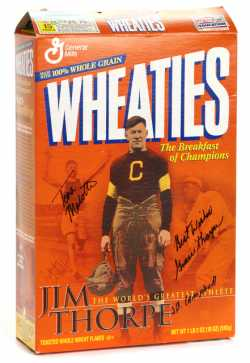 Wheaties box featuring athlete and Olympic gold medalist Jim Thorpe, 2001.