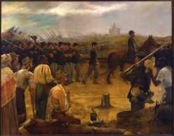 Painting showing an artist's depiction of the Fourth Minnesota entering Vicksburg after its surrender
