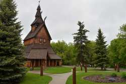 Color image of the Hopperstad Stave Church Replica, 2011. Photograph by Flickr user Steve Borsch.