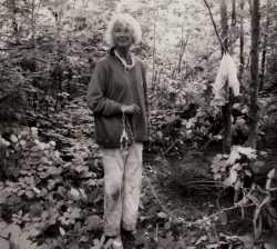Black and white photograph of Virginia Piper in Jay Cooke State Park after her rescue by the FBI. Photographed by the FBI on July 29, 1972. Used with the permission of Harry Piper III.