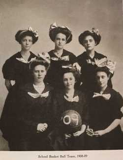 Black and white photograph of the Graham Hall basketball squad, ca.1908.