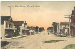 Color postcard depicting a Waconia Street Scene, c.1900.