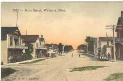 Color postcard depicting a Waconia Street Scene, c.1900.