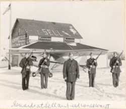 Black and white photograph of Minnesota Home Defense squadron which took over Sell Airfield in 1941.