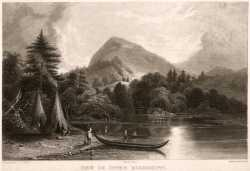 Black and white engraving on paper depicting Lake Pepin. Made by Jacob C. Ward c.1840.