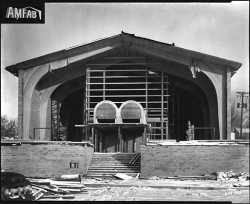 Black and white photograph of the construction of a new building for B'nai Abraham Congregation (later B'nai Emet Synagogue) at Ottawa Avenue and Highway 7, St. Louis Park, December 8, 1958.