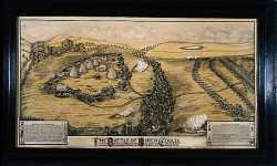 Lithograph interpretation of the Battle of Birch Coulee, 1912.