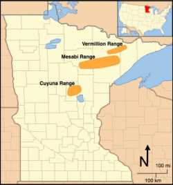 Map showing the locations of the Vermillion, Mesabi, and Cuyuna Iron Ranges of Minnesota.