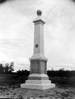 Black and white photograph of the Second Minnesota Artillery monument at Chickamauga, Georgia, taken c.1890.