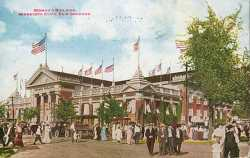 Colored postcard of the Minnesota State Fair Domestic Arts and Handicrafts building, c. 1910.