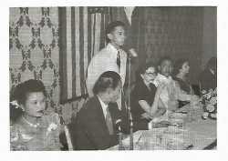 FMA president Rene Dawis delivering a speech in Minneapolis, 1953.