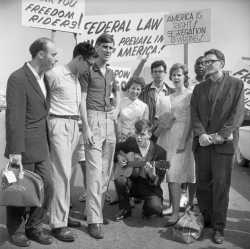 Black and white photograph of the Minnesota Freedom Riders on July 26, 1961.