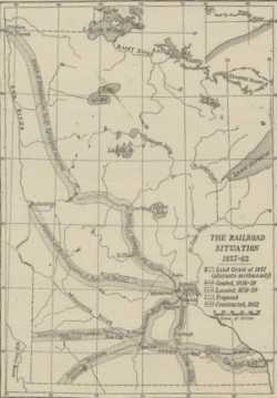 Map reproduced in William Watts Folwell's <em>History of Minnesota</em>, Vol. 2 showing railroad lines in Minnesota as graded, located, proposed, and constructed between 1857 and 1862.