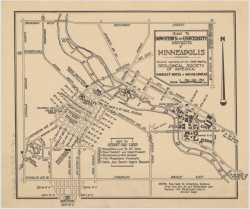 Color scan of a map of the downtown and university districts of Minneapolis, 1939.