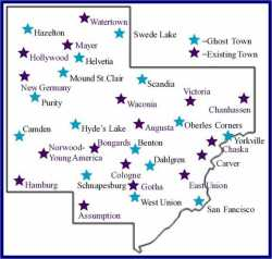 a map graphic indicating the locations of ghost towns, as well as existing towns, within the boundaries of Carver County