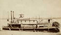 Black and white photograph of the steamer Sea Wing, c.1889.
