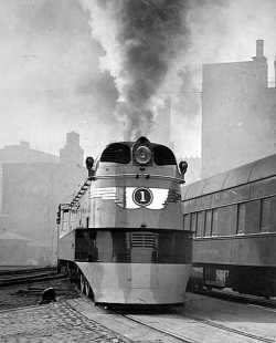 "Black and white photograph of a locomotive for the ""Hiawatha,"" Milwaukee Road. Photograph by Milwaukee Road News Bureau, 1935."
