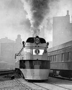 "Black and white photograph of a locomotive for the ""Hiawatha,"" Milwaukee Road. Photograph by Milwaukee Road News Bureau, 1935."