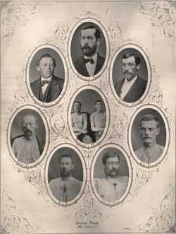 Collage of black and white photographs of Minnesota citizens and James-Younger Gang members, 1876.