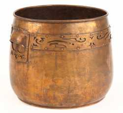 Arts and Crafts-style hammered copper jardiniere flowerpot