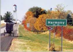 Amish Buggy Entering Harmony, Minnesota