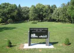 Color image of a memorial inside Carson Mennonite Brethren Church Cemetery, August 25, 2013.