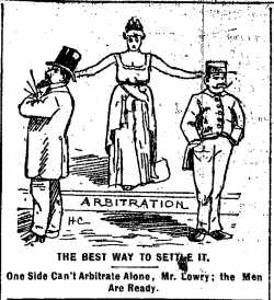 """Black and white scan of """"The best way to settle it."""" Minneapolis Journal, April 12, 1889."""
