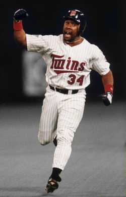 Color image of Kirby Puckett during the 1991 World Series.