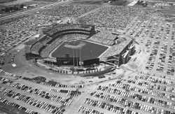 Black and white photograph of The All-Star game at Metropolitan Stadium, 1965. Photograph: Gerald R. Brimacombe, Minneapolis Star & Tribune.