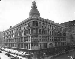 Black and white photograph of Donaldson's Glass Block, c.1920. Photograph by Charles P. Gibson.