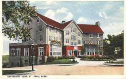 Colorized postcard depicting the exterior of the University Club in St. Paul, c.1920.