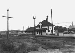 Black and white photograph of a depot on the DW&P at Orr, Minnesota, 1974.