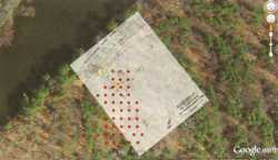 Google map of the Cadotte Post site with overlay of Douglas Birk's 1972 sketch and an approximation of the location of the survey grid.