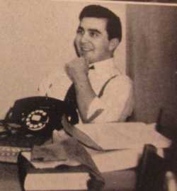 Shulman at his desk as editor of the University of Minnesota's humor magazine Ski-U-Mah, ca. 1941. From a 1941 issue of Ski-U-Mah, available on microfilm at the Minnesota Historical Society.