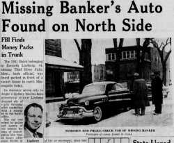 "Headline and images from an article on the disappearance of Kenneth Lindberg (""Missing Banker's Auto Found on North Side"") that ran in the Minneapolis Star on November 18, 1955."