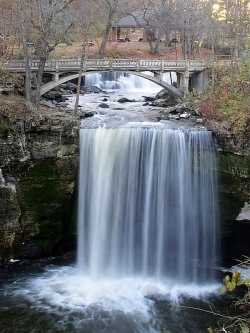 Color image of Minneopa Falls, Minneopa State Park, October 21, 2010. Photograph by Wikimedia Commons user McGhiever.