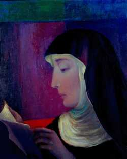 Color image of an oil painting of Mother Benedicta Riepp, c.1980s. Painting by Sister Thomas Carey, O.S.B.