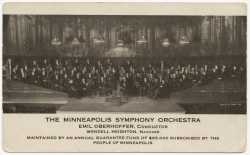 Black and white photograph of the Minneapolis Symphony Orchestra on stage, c.1912.