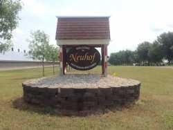 Sign at entrance to Neuhof Hutterian Brethren Colony