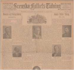 Color image of the August 30, 1905 issue of the Svenska Folkets Tidning, with an article detailing the history of the paper since 1881 on the front page.