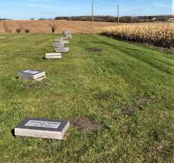 Gravestones awaiting installation outside Fergus Falls State Hospital